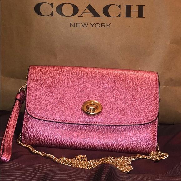 271e914cbeb 100% Authentic Coach Mtlc Lthr Ant Blush Crbdy. NWT